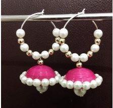 Hoop Jhumka(Pink)